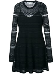 Mcq By Alexander Mcqueen Geometric Knitted Skater Dress Black