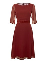 Elise Ryan 3 4 Sleeve Lace Back Skater Dress Berry
