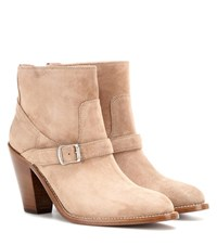 Saint Laurent New Western 80 Suede Ankle Boots Beige