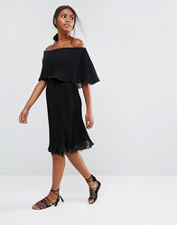 Y.A.S Pleady Pleated Skirt With Lace Hem Black