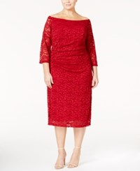 Inc International Concepts Plus Size Off The Shoulder Lace Sheath Dress Only At Macy's Real Red