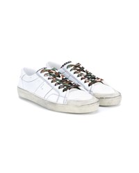 Saint Laurent Distressed Leather Court Sneakers White Black