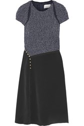 3.1 Phillip Lim Boucle And Silk Crepe De Chine Dress Midnight Blue