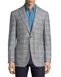 Luciano Barbera Check Wool Three Button Jacket Gray Multi