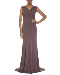 Escada V Neck Cap Sleeve Gown Henna