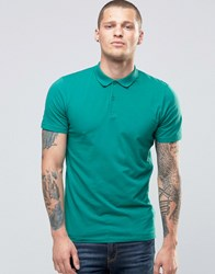 New Look Muscle Fit Polo Shirt In Green North Sea Blue