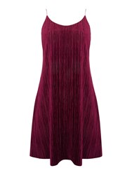 Therapy Bee Velvet Pleated Dress Burgundy