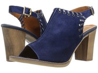 Bella Vita Ora Italy Navy Italian Suede Leather High Heels Blue