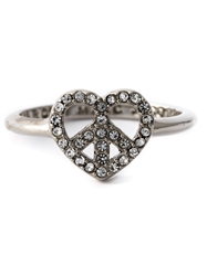 Marc By Marc Jacobs Crystal Embellished Heart Peace Ring