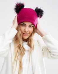 Helene Berman Double Pom Pom Pull On Beanie Hat Pink