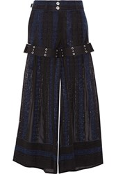 Sacai Crochet And Chiffon Wide Leg Pants Black