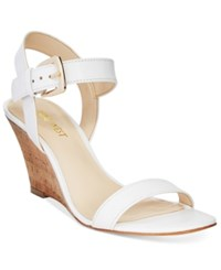 Nine West Kiani Strappy Wedge Sandals Women's Shoes White Leather