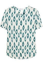Equipment Riley Printed Washed Silk T Shirt Teal