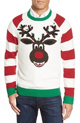 Men's Ugly Christmas Sweater 'Reindeer Stripe' Holiday Crewneck Sweater