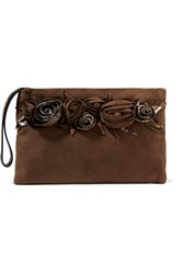 Valentino Python Trimmed Suede Pouch Chocolate