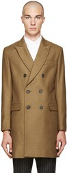 Ami Alexandre Mattiussi Tan Wool Double Breasted Coat