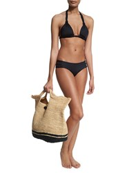 Large Straw Beach Bag Jute Black Vitamin A