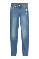 7 For All Mankind Seven Distressed Skinny Jeans Blue