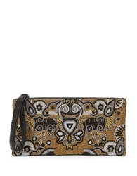 Mary Frances Beaded Top Zip Clutch Multi Colored