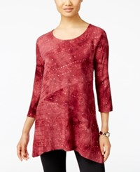 Jm Collection Tie Dyed Sequined Tunic Only At Macy's Merlot