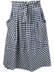 Sea Gingham Midi Skirt Blue