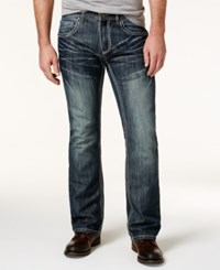 Inc International Concepts Men's Boot Cut Dark Wash Faded Jeans Only At Macy's