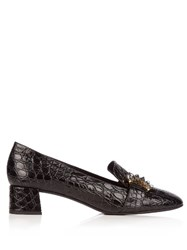 Erdem Berry Crocodile Effect Leather Loafers Black