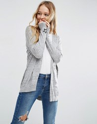 Asos Swing Cardigan With Star Cuff Patch Grey Nep