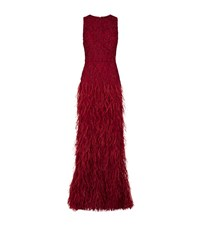 Alice Olivia Vaughn Feather Fishtail Gown Female Red