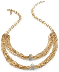 Inc International Concepts Gold Tone Clear Crystal Pave Rondelle Twisted Chain Necklace