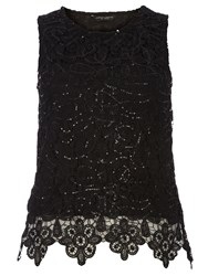 Dorothy Perkins Sequin Lace Shell Top Black