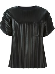 Alexander Wang Pleated Artificial Leather T Shirt Black