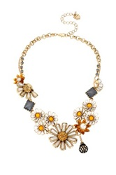 Betsey Johnson Flower Child Daisy Cluster Frontal Necklace Multi