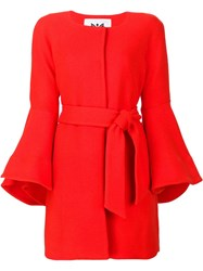 Milly Flare Sleeve Single Breasted Coat Red