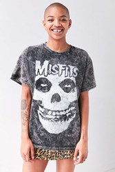 Urban Outfitters Misfits Mineral Washed Skull Tee Black