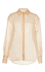 Wanda Nylon Bibi Sheer Collared Shirt Nude