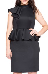 Eloquii Ruffle Shoulder Peplum Sheath Dress Plus Size Black