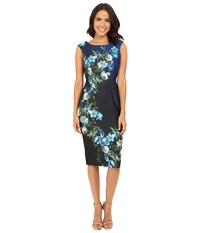 Christin Michaels Halle Cap Sleeve Dress Black Blue Women's Dress