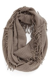 Women's Bp. Rib Knit Fringe Infinity Scarf Grey