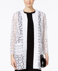Alfani Prima Long Open Front Lace Blazer Only At Macy's Bright White
