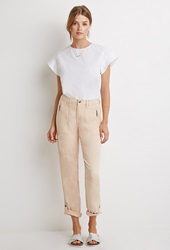 Forever 21 Zippered Moto Pants Peach