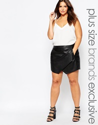 Junarose Leather Look Skort Black