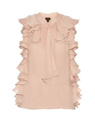 Giambattista Valli Ruffle Trimmed Silk Georgette Blouse Light Pink