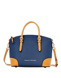 Dooney And Bourke Claremont Leather Dome Satchel Bag Navy