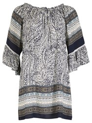 Izabel London Batik Print Peasant Top Blue