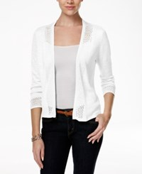 Charter Club Crochet Trim Open Cardigan Only At Macy's Bright White