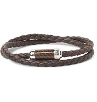 Tateossian Monte Carlo Braided Leather And Sterling Silver Bracelet Brown