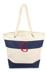 Cathy's Concepts Personalized Stripe Canvas Tote Blue Navy G