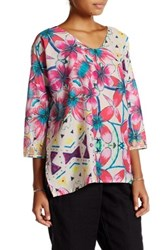 Johnny Was 3 4 Sleeve Printed Blouse Multi