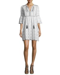 Talitha Embroidered 3 4 Sleeve Tassel Tie Dress White Black